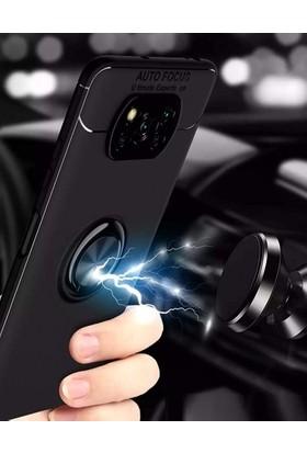 Kılıf Plus Xiaomi Poco X3 Nfc Kılıf Auto Focus Serisi Soft Premium Standlı Yüzüklü Kapak - Siyah