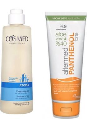 Cosmed Atopia Temizleme Yağı 400 ml + Altermed %9 Panthenol Içeren Aloe Vera Vücut Sütü 230 ml