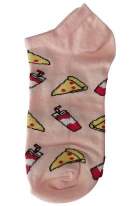 Altıgen Socks Fast Food Desenli Patik Çorap