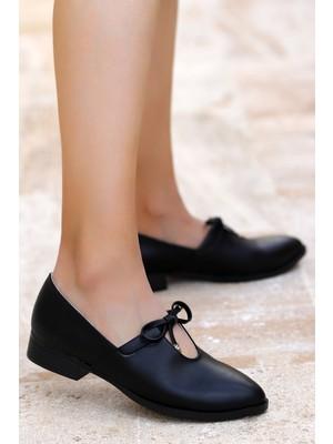 Potincim 8328-101 Cilt Günlük Anatomik Kadın Günlük Babet Ayakkabı Siyah