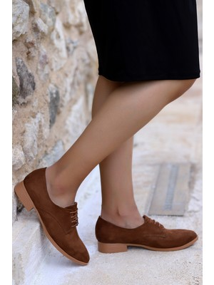 Potincim 8328-103 Süet Günlük Anatomik Kadın Günlük Babet Ayakkabı Taba