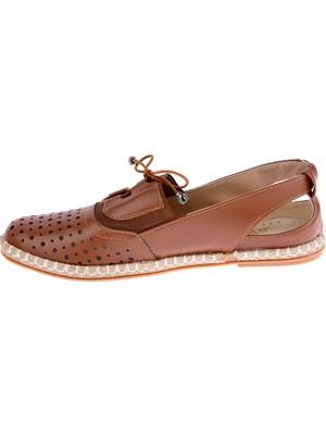 Potincim Cns 027 T.lazerli Günlük Kadın Babet Ayakkabı Taba