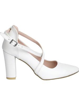 Potincim 137029-1122 Cilt 9 cm Topuk Kadın Sandalet Ayakkabı Beyaz