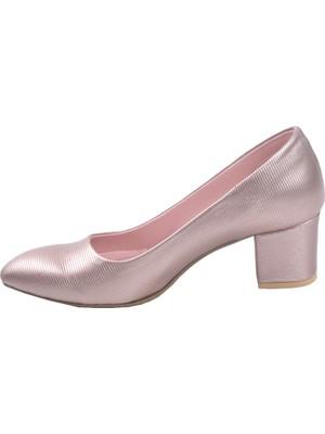 Potincim 1990-2023 Çizgili 5 cm Topuk Kadın Cilt Ayakkabı Pudra