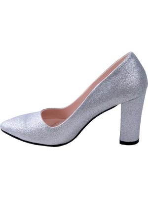 Potincim 137029-311 Kum Simli Günlük 8 cm Topuk Kadın Ayakkabı Gümüş