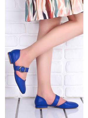 Potincim 455 Cilt Günlük Kadın Babet Ayakkabı Mavi