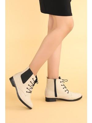 Potincim 387-01 Süet Bağcıklı Termo Taban Kadın Bot Ayakkabı Ten