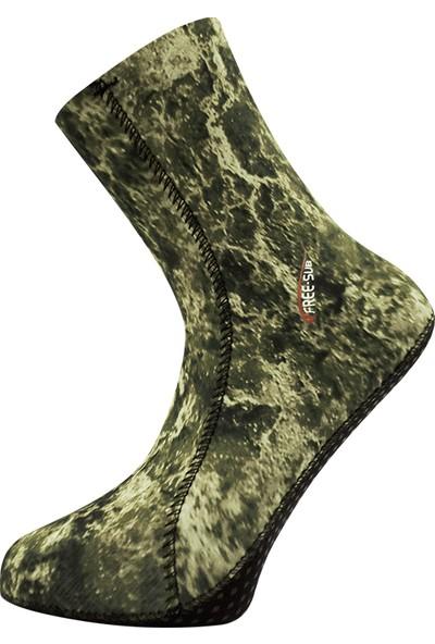 Free-Sub 5mm Opencell Expert Green Desen Kaymaz Tabanlı Dalış Çorabı 2xl Beden