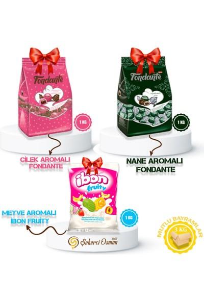 Bayram Avantajlı Koli - Fondante - Ibon 3 x 1 kg - Bayram Şekeri Fondante Çilek Fudge, Fondante Nane Aromalı, Ibon Meyveli
