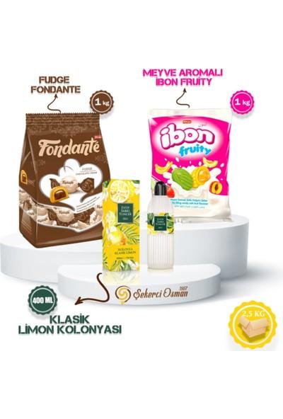 Kolonyalı Bayram Avantaj Koli - Fondante Fudge 1 kg - Ibon Meyveli 1 kg - Eyüp Sabri Tuncer 400 ml - Bayram Şekeri