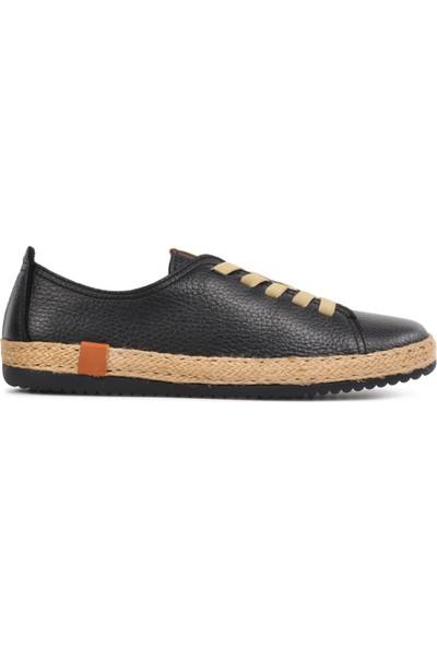Free Foot Siyah Deri Kadın Günlük Ayakkabı