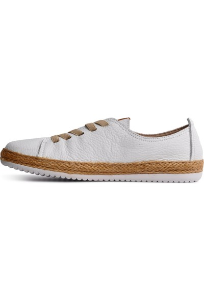 Free Foot Beyaz Deri Kadın Günlük Ayakkabı