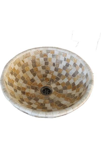 Mym Traverten Üçlü Mix Mozaik Lavabo