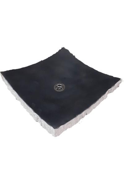 Mym Bazalt Siyah Patlatma Kenar Kare Yaprak Lavabo