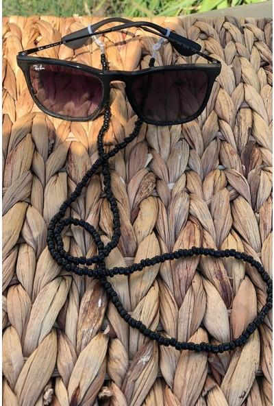 Cosibella Kadın Siyah Boncuk Güneş Gözlüğü - Gözlük ve Maske Askısı Ipi