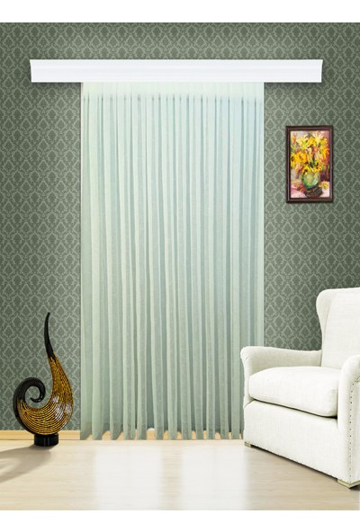 Evdepo Home Kullanıma Hazır 1/2 Seyrek Pileli Ham Keten Tül Perde - Ekru 130 x 250 cm