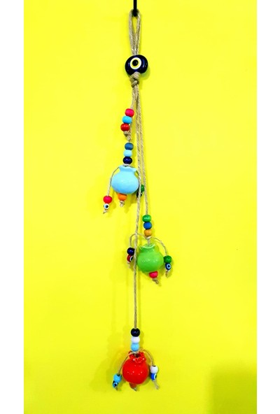 NAZAR 3lü Nar Figürlü Renkli Boncuklu Sarkıt Duvar Bahçe Süsü 45 cm