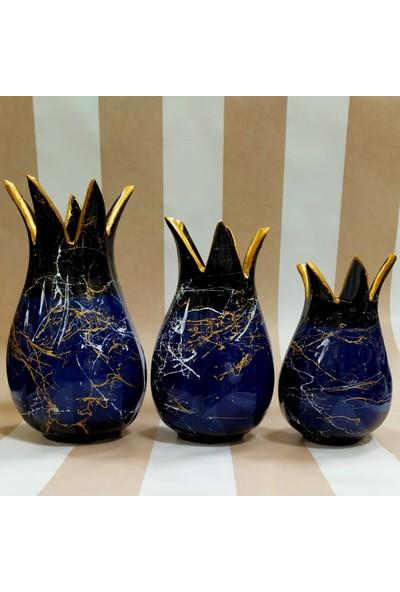 Otogar Çini El Yapımı 3 Lü Çini Lale Vazo Konsol Seti Lacivert Renk Gold Yaldızlı Mermer Dekorlu