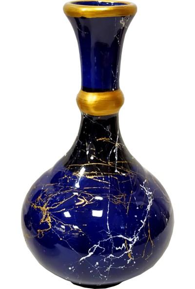 Otogar Çini 2 Vazo 1 Gaz Lambası Konsol Seti Lacivert Renk Gold Yaldızlı Mermer Desenli