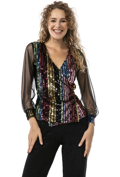 Moda Gusto Payet Işlemeli Tül Kol Detaylı Siyah Kruvaze Bluz