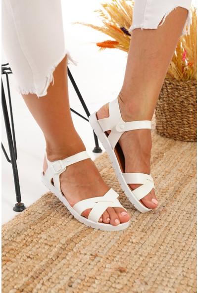 Albishoes Hafif Esnek Tokalı Kadın Sandalet