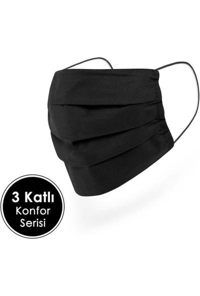 Mutlu Maske Gri Siyah Renkli Puantiyeli Desenli Telli Yıkanabilir Bez Pamuklu Kumaş Maske 3'lü Set