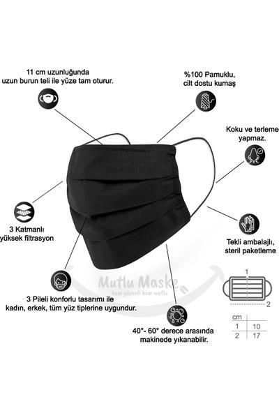 Mutlu Maske Siyah Puantiyeli Çiçekli Desenli Telli Yıkanabilir Bez Pamuklu Kumaş Maske 3'lü Set