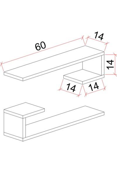 Fiensa L Model 2'li Duvar Rafı Duvar Rafı,2'li Set Duvar Rafı, Kitaplık, Saksılık, Mutfak Raf, Salon Raf, Tv Rafı