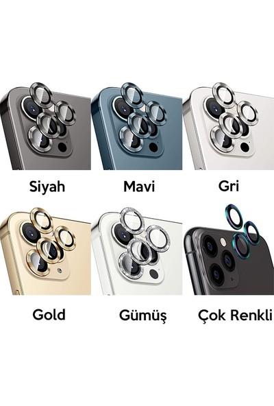 Ssmobil iPhone 12 Pro 3D Metal Çerçeveli Kamera Lens Koruyucu