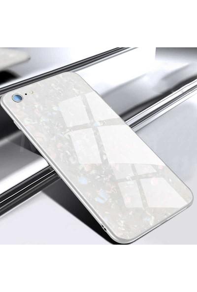 Canpay Apple iPhone 5 Tempered Glass Cam Arka Kılıf Mermer Style