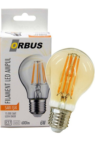 Orbus ORB-F6W E27 600 Lmn 6 Watt Filament Amber LED Ampul