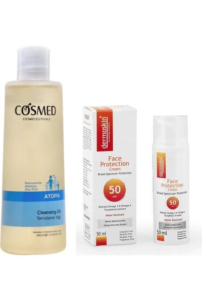 Cosmed Atopia Temizleme Yağı 400 ml + Dermoskin Face Protection Güneş Kremi SPF50+ 50ML