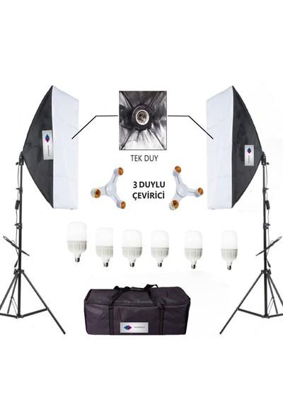 Deyatech Softbox 50 x 70 cm Sürekli Video Işık 3 Duylu 6500 Led Işık Set 2'li