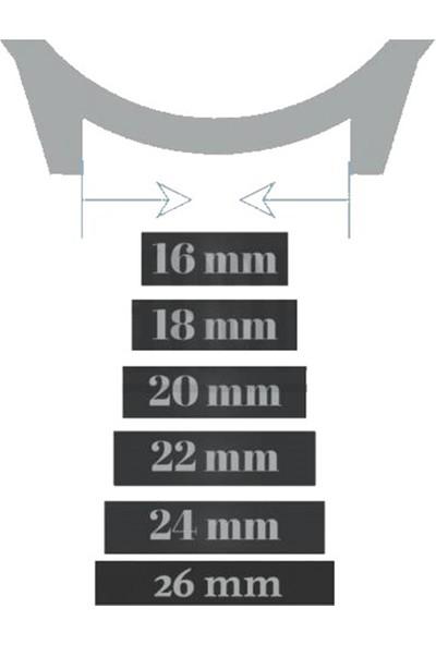Quantum Saat Uyumlu 20MM Taba Renk Beyaz Dikişli Gümüş Klipsli Deri Saat Kordonu Kayışı