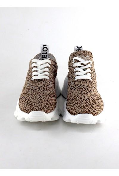 love Modalena Kadın Dantelli Sneaker Bağcıklı Spor Ayakkabı Love Çikolata Koyu Bej