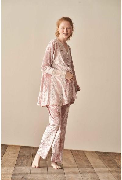 Feyza 3915 Kadife Sabahlıklı Lohusa Pijama Takımı