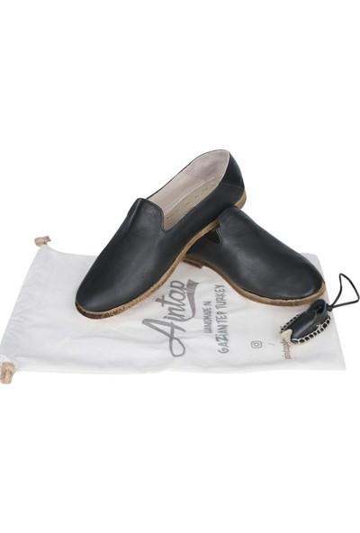 Aintap Deri Siyah Bayan Topuklu Gaziantep Yemeni Ayakkabı