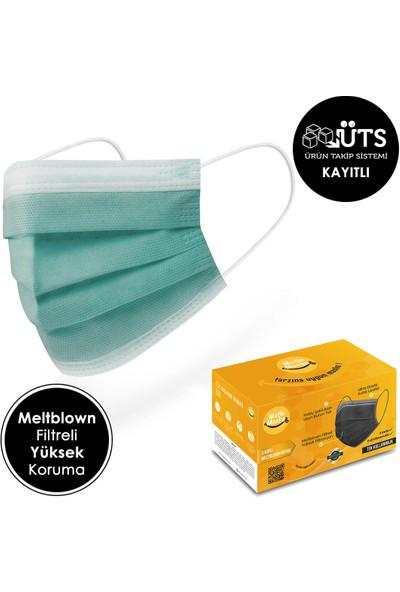 Mutlu Maske Cool Serisi Yeşil Beyaz Mor Sarı Turuncu Renkli Cerrahi Maske Seti 50'li