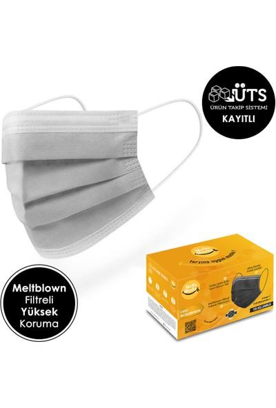 Mutlu Maske Casual Serisi Gri Beyaz Mavi Haki Siyah Renkli Cerrahi Maske Seti 100'lü