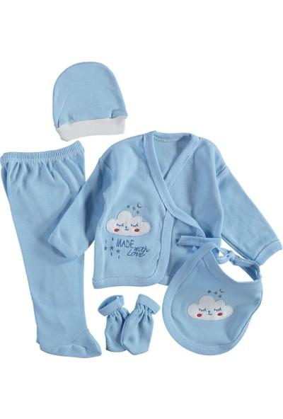 Burtaç Baby Erkek Bulut Nakışlı Hastane Çıkışı 5 Li Zıbın Seti Mavi