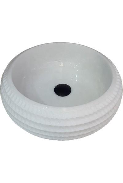 Mym Kristal Beyaz Mermer Özel Işlemeli Bombeli Lavabo