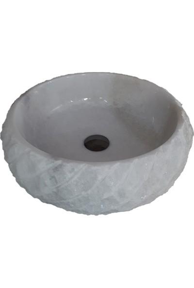 Mym Muğla Beyaz Mermer Sarık Patlatma Bombeli Lavabo
