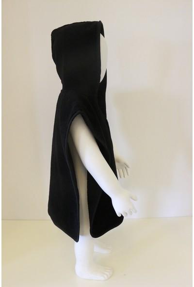Ender Home Siyah Triga Kadife Bebek Pançosu Çocuk Pançosu 4 Farklı Beden 5-6 Yaş Arası Kapşonlu Model Panço