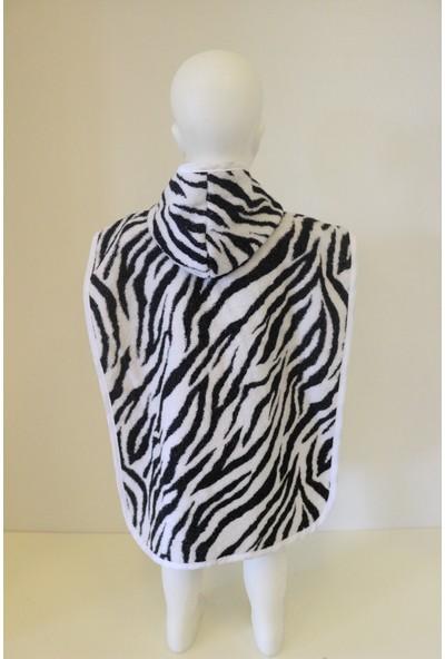 Ender Home Zebra Desen Bebek Çocuk Pançosu 4 Farklı Beden 0-2 Yaş Arası Beyaz Biyeli Kapşonlu Model Panço