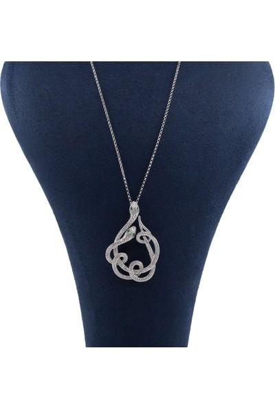 Lili Pırlanta Kadın 925 Ayar Gümüş Swarovski Taşlı Yılan Tasarımlı Kolye GKL00057-021