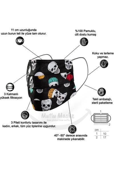 Mutlu Maske Konfor Modeli Telli Pamuklu Kumaş Siyah Kuru Kafa Desenli Yıkanabilir Bez Maske 2'li