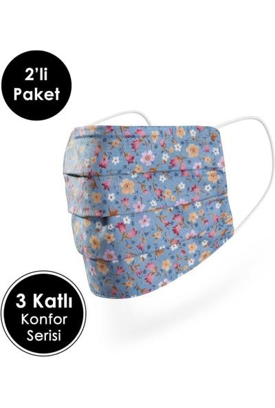 Mutlu Maske Konfor Modeli Telli Pamuklu Kumaş Mavi Çiçekli desenli Yıkanabilir Bez Maske 2'li
