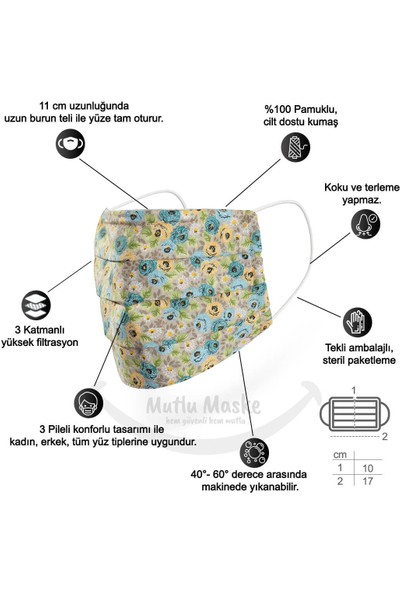 Mutlu Maske Konfor Modeli Telli Pamuklu Kumaş Renkli Çiçekli desenli Yıkanabilir Bez Maske 2'li