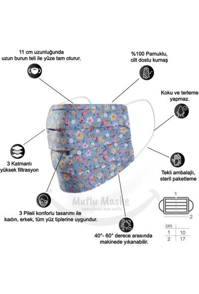 Mutlu Maske Konfor Modeli Telli Pamuklu Kumaş Mavi Çiçekli desenli Yıkanabilir Bez Maske 5'li