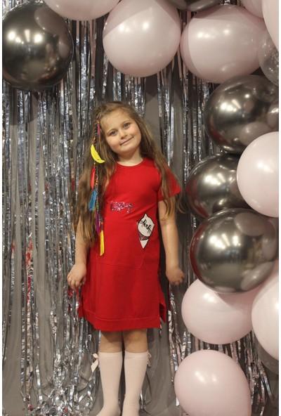 Baby Kız Çocuk Kedi Baskılı Elbise Kırmızı 0025-